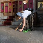 Cleaning lady in Jvari monastery.