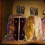 Torah scrolls stored in the Holy Ark.